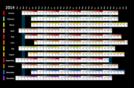Black linear calendar 2014 with daily and monthly color coding Vector