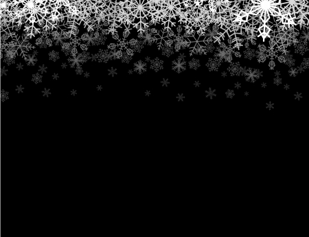 Horizontal frame with snowflakes falling down into darkness