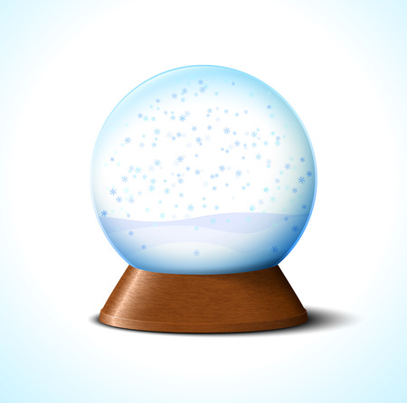 Christmas glass snow ball with snowflakes on white Vector