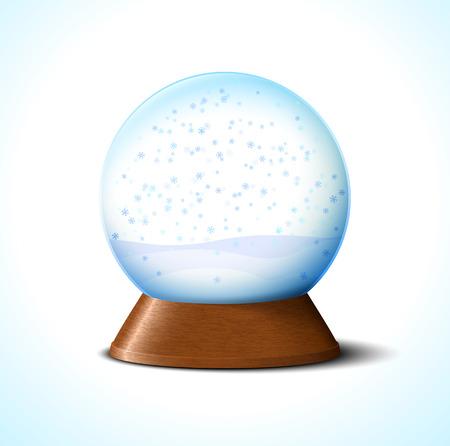 christmas snow globe: Christmas glass snow ball with snowflakes on white