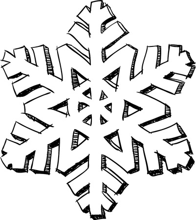 Pencil drawing styled isolated 3D snowflake sketch