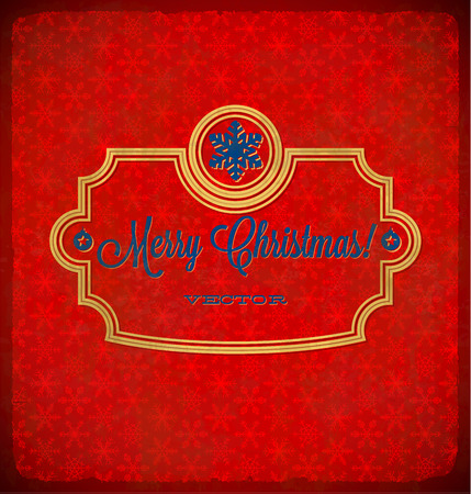 Aged Christmas vintage polka dot frame with snowflakes Vector