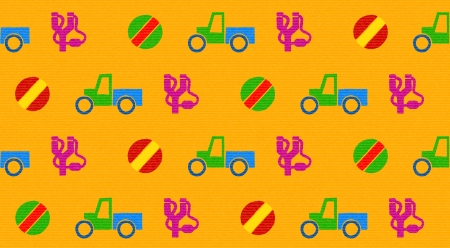 Colorful retro wallpaper with seamless toys pattern Vector