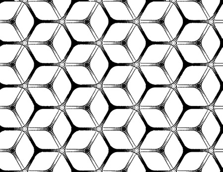 Rough drawing styled futuristic hexagonal seamless grid Vector
