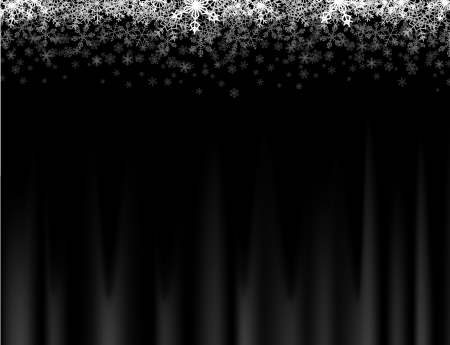 Horizontal frame with small snowflakes falling down into darkness