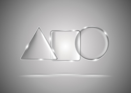 Lightened transparent glass geometric triangle, square and circle Vector