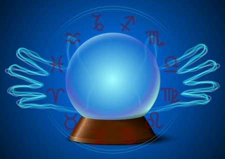 Magic ball with fortune teller hands and zodiac signs Vector