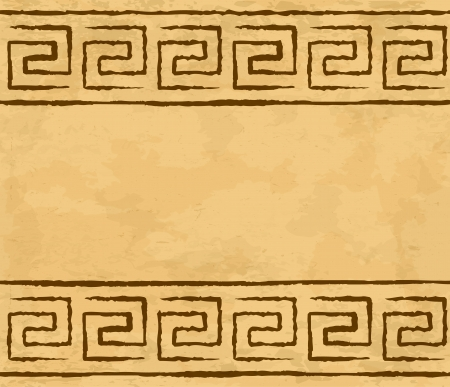 meander: Greek meander seamless pattern on the parchment
