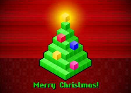 Christmas tree retro digital card with baubles made of 3D pixels Vector