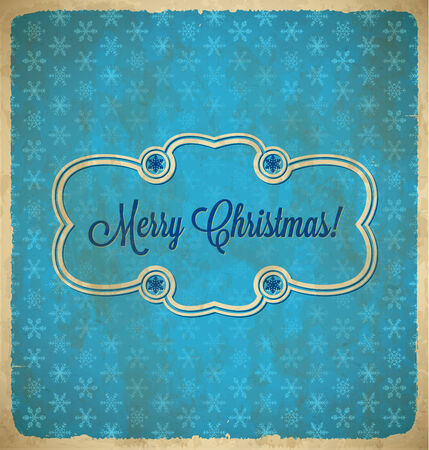 Christmas vintage polka dot frame with snowflakes Vector