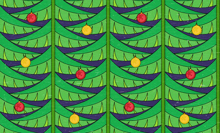 Vintage seamless pattern with green branches and baubles Vector