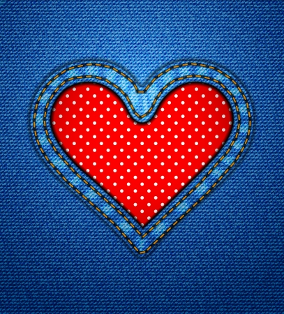 Valentine jeans heart frame with polka dots Vector