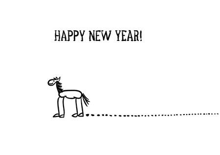 D� el bosquejo caballo dibujado con trazos largos