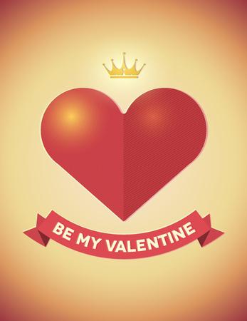heart and crown: Vintage carta di San Valentino con il cuore, corona e nastro Vettoriali