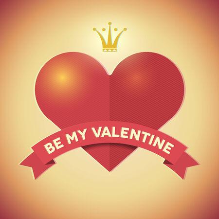 heart and crown: Vintage San Valentino carta di pantaloni a vita bassa con il cuore, corona e nastro