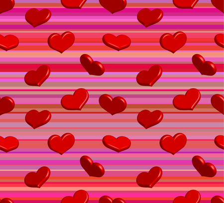 Valentine seamless pattern with shiny red hearts Vector