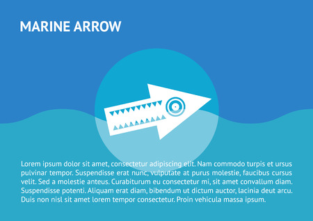 Flat arrow icon swimming at the sea Vector
