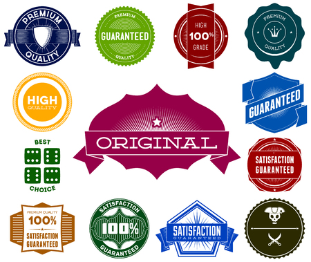Set of colorful hipsters vintage premium labels Vector