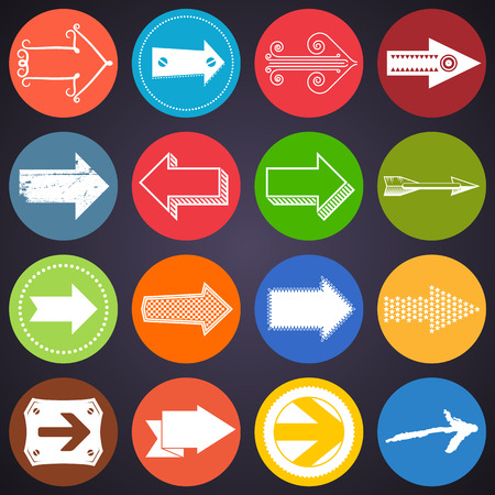 Set of unusual flat colorful arrow icons Vector