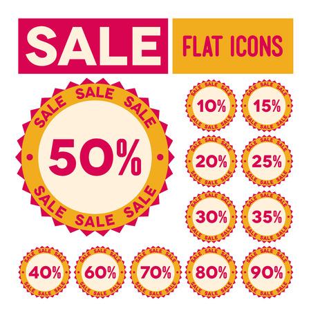 Set of flat sale labels with percents Vector