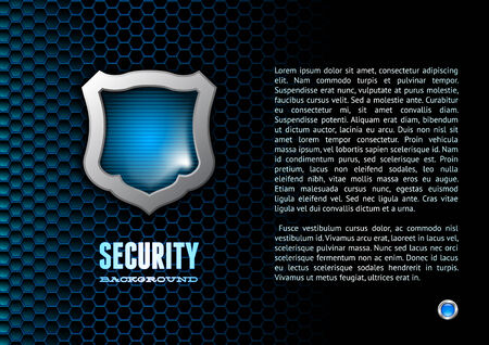 antivirus: Booklet with steel glossy lightened shield and hex background