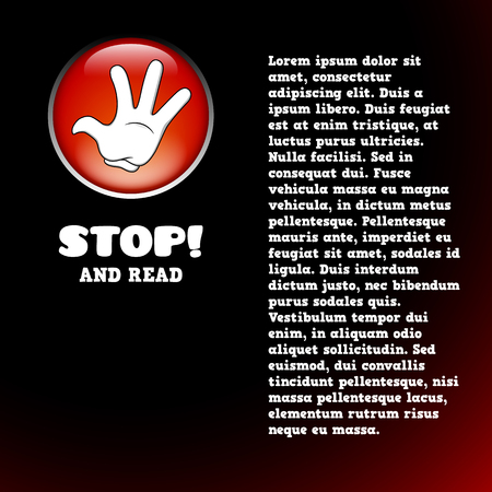 Card with cartoon stop hand on the red button Vector