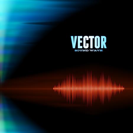 wavelength: Forma de onda de sonido brillante de color naranja con picos agudos en las luces polares fondo Vectores