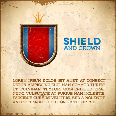 Aged card with vintage shield label with golden crown Vector