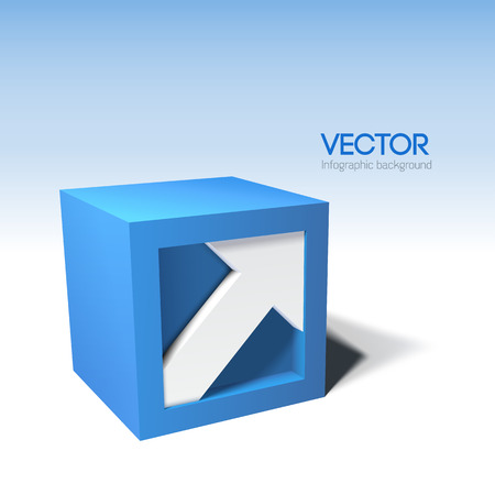 Infographic styled 3D cube with arrow Vector