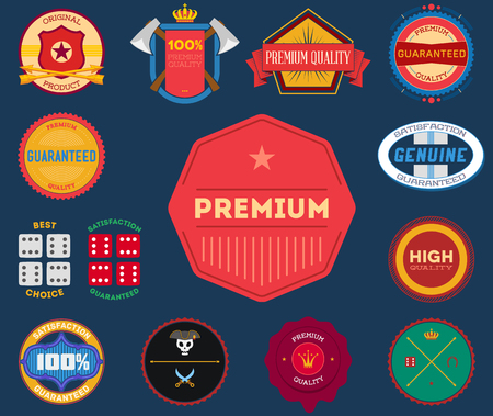 Set of flat colored vintage Premium Quality labels Vector
