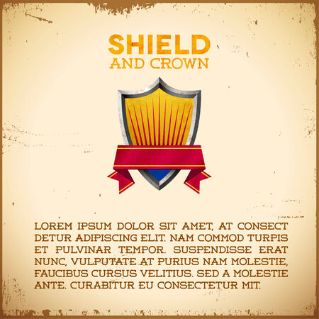 Aged card with vintage shield label with ribbon Vector