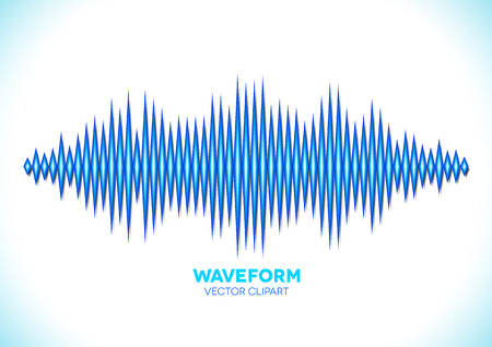 vibrations: Blue shiny sound waveform with sharp peaks