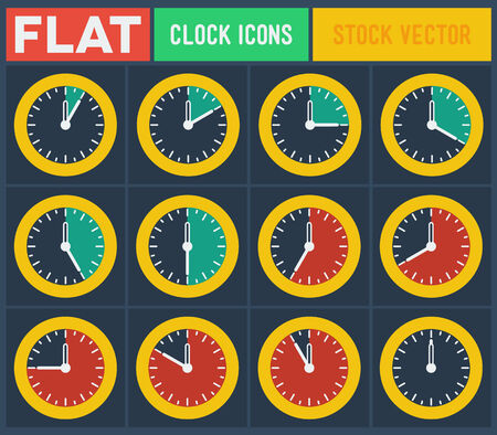 Set of vintage flat clocks with 5 minutes gradation Vector