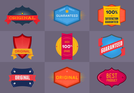 Set of flat colored Original and Premium labels Vector