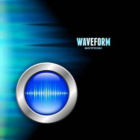 polar light: Bot�n de plata con la se�al de la onda de sonido y de la luz azul polar Vectores