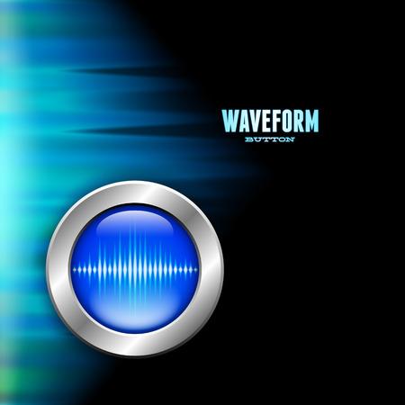 polar light: Silver button with blue sound wave sign and polar light