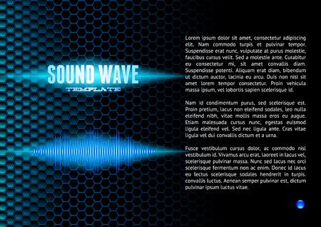 wavelength: Forma de onda de sonido brillante azul en rejilla hexagonal de folleto