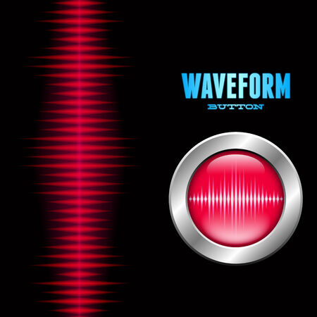sine wave: Silver button with red sound or music wave sign