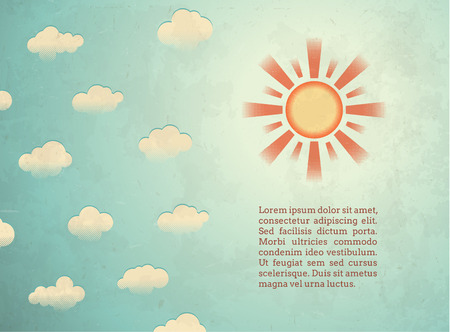 Aged raster printed card with sun and clouds Vector