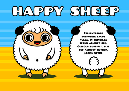 Kawaii style card with sheep characters couple Vector