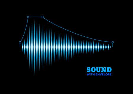 musica electronica: Forma de onda de sonido brillante azul con curva envolvente