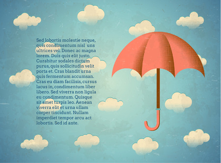 textbox: Aged vintage card with umbrella and textbox