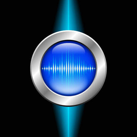 sine wave: Silver button with blue sound wave sign