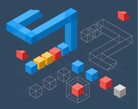 clusters: Abstract infographics with flat colored cubes and wired structures
