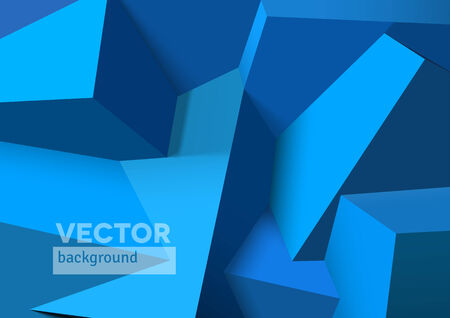 Abstract background with realistic overlapping blue cubes Vector
