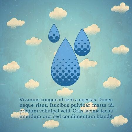 Aged vintage card with rain drops sign Vector