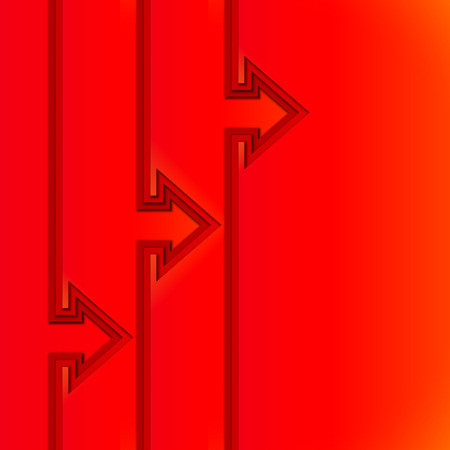 Colorful rising arrows with red cut paper layers Vector