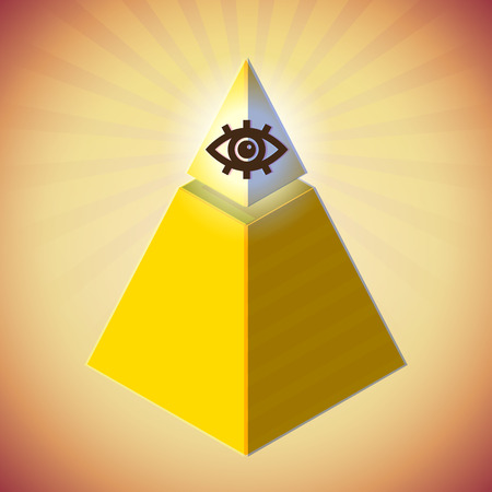 Retro styled poster with all seeing eye and golden pyramid Vector
