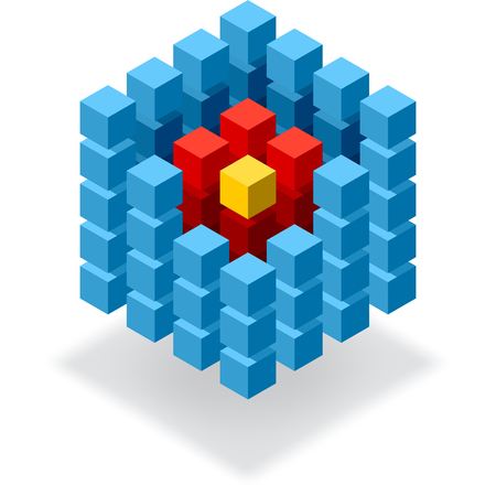 Segmented blue cube infographic element with red hot core Vector
