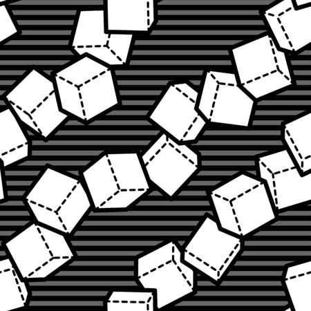 chaotic: Seamless pattern with chaotic diagonal cube lines Illustration